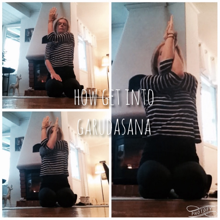 HOW TO GET INTO GARUDASANA Bend you left arm 90 degrees, moving the left elbow towards the right shoulder, keep fingers straight and pointing up. Bend your right arm the same way, hooking the right arm under the left elbow. Move both arms towards your centre, in front of your face. Relax your shoulders, inhale and allow your breath to create some space in your chest, heart, around your neck and shoulders, exhale and release the shoulders a bit further down away from the ears. If you have no pain or injury in your shoulders, you can now try to move your right hand towards the left hand, with the intention of making the palms of your hands meet.